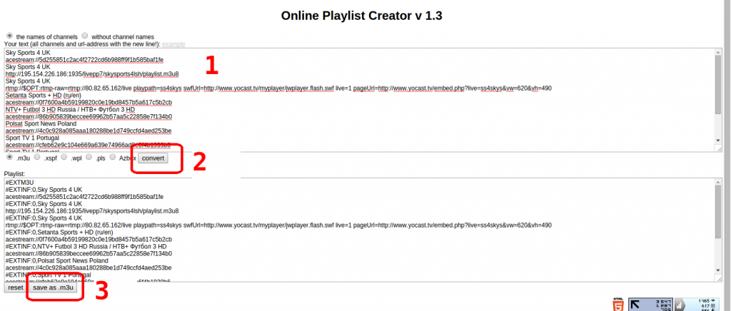 creare una lista m3u
