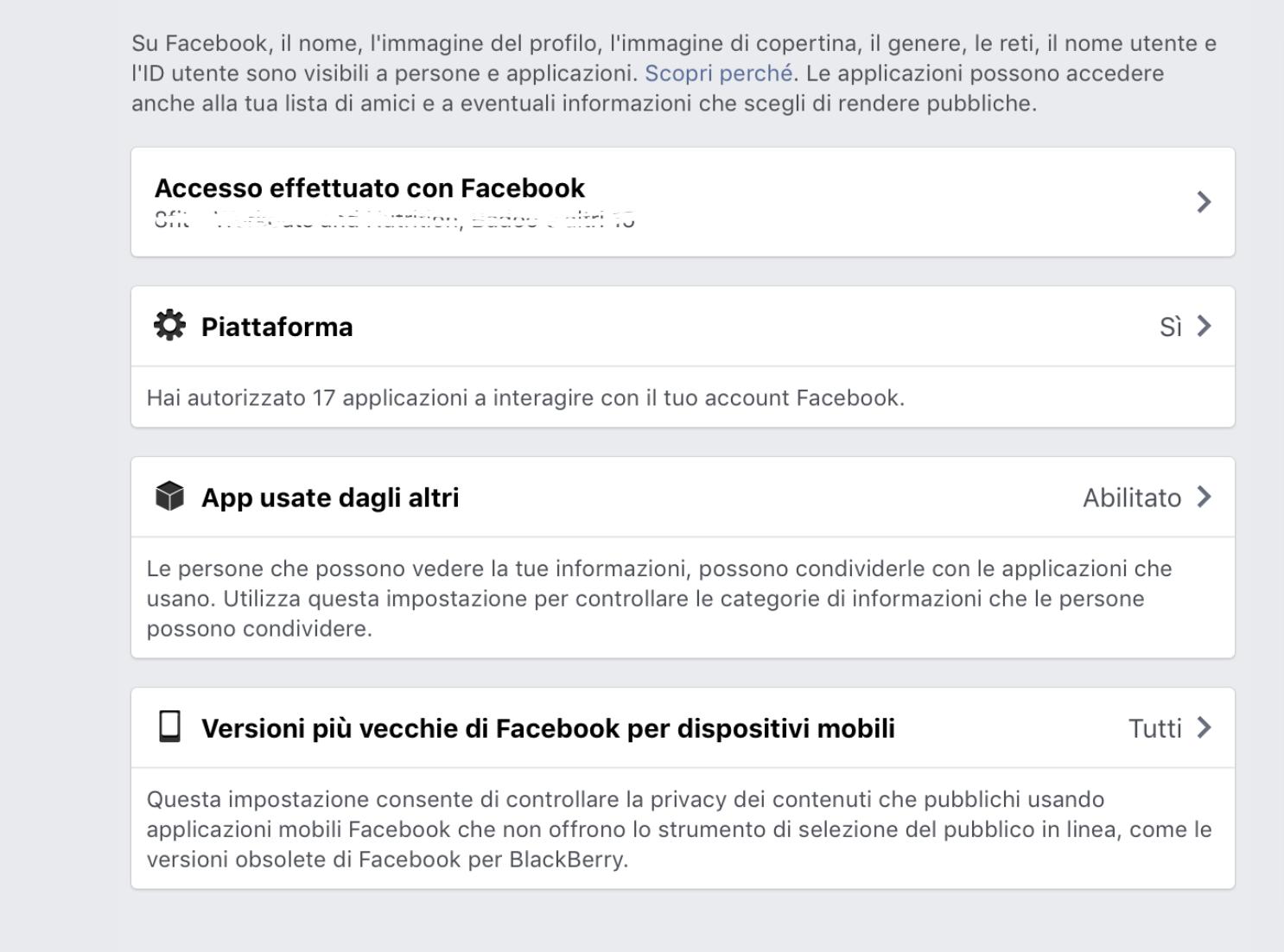 i nostri dati su Facebook
