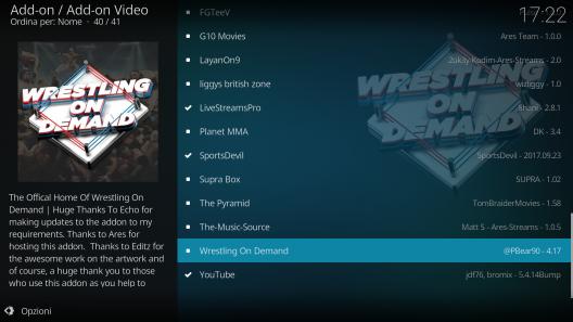 Wrestling su kodi