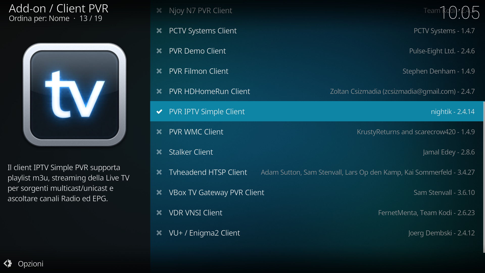 Configurazione tv Kodi più epg