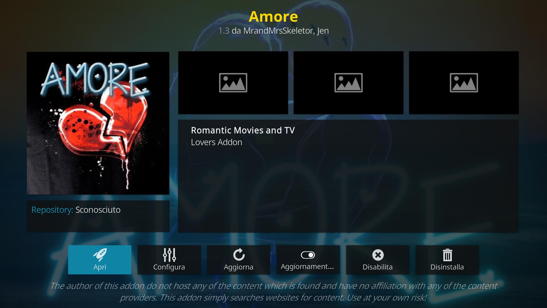 Amore add-on Kodi