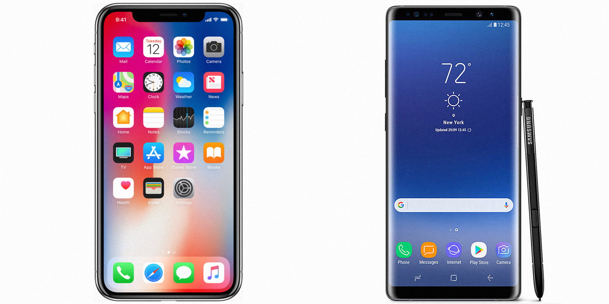 Samsung Galaxy note 8 VS IPhone X.