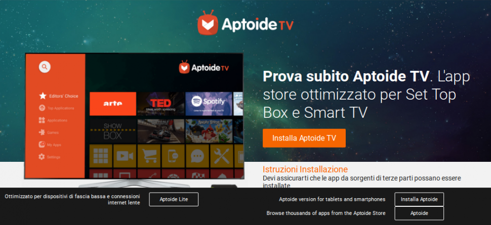 Alternativa app store per Fire stick, Tv box e Smart tv , Aptoide tv